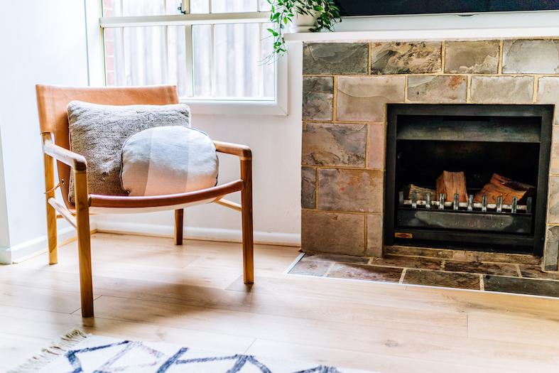 Hampton chair and fireplace